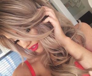 blonde hair, tan, and blush image