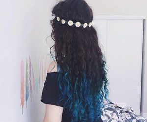 hair, blue, and curly image