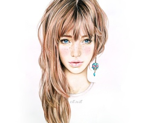 art, colored pencil, and girl image