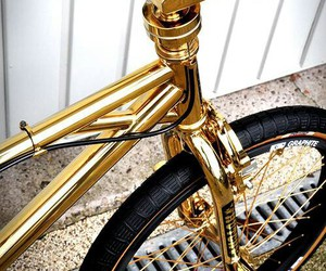 gold, bike, and swag image