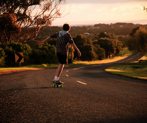 boy, skate, and road image