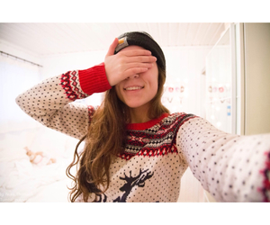 beanie, christmas, and curls image