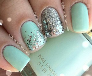 nails, glitter, and mint image