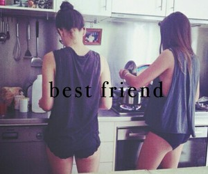 girl, friends, and kitchen image