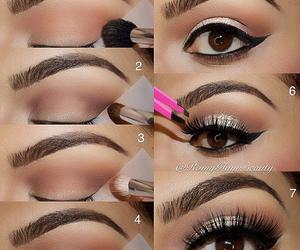 eyeshadow, gold shadow, and makeup image