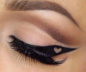 eyeliner, heart, and makeup image