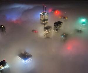 city, lights, and fog image