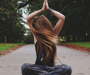 hair, girl, and yoga image