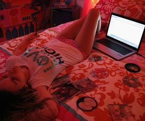 girl, bed, and cd image