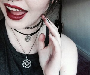 black, lipstick, and necklace image