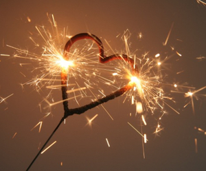 love, fireworks, and heart image