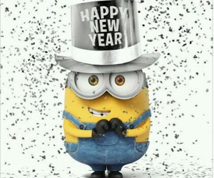 minions, happy new year, and 2015 image