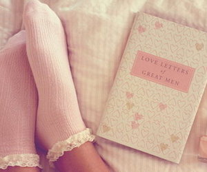 pink, book, and socks image