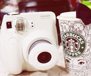 starbucks, camera, and coffee image