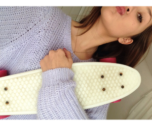 clothes, penny board, and makeup image