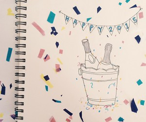 champagne, confetti, and happy new year image