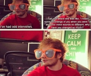 ed sheeran, funny, and interview image