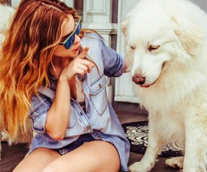 dog, girl, and barbara palvin image