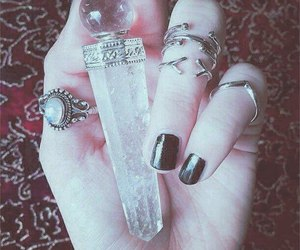 crystal, rings, and black image