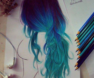 blue, drawing, and hair image