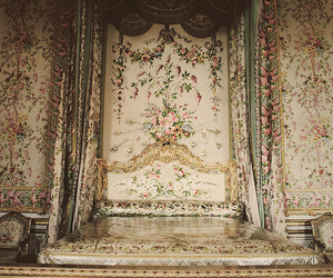 bed, floral, and versailles image