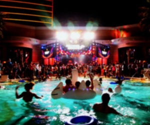 party, pool, and friends image