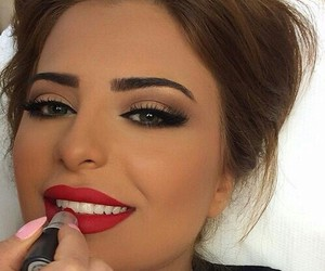 makeup, red, and lipstick image