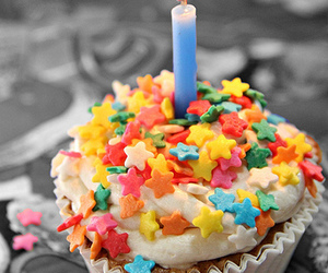 cake, candle, and stars image