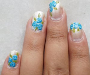 nail art and blue roses image
