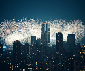 fireworks, city, and lights image