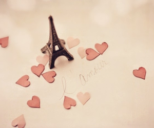eiffel, heart, and pink image