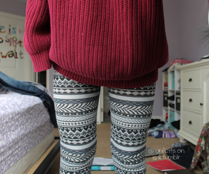 sweater, leggings, and clothes image