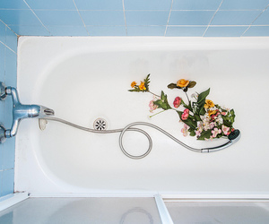 bathtub and flowers image