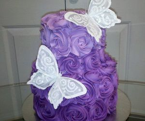 butterfly, cake, and flowers image