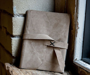 brown, leather, and guest book image