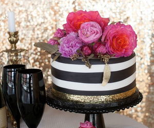 cake, flowers, and gold image