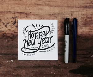 handlettering, happy, and 2015 image