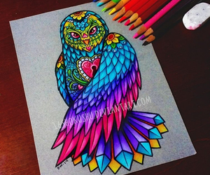 art, color pencils, and colorful image
