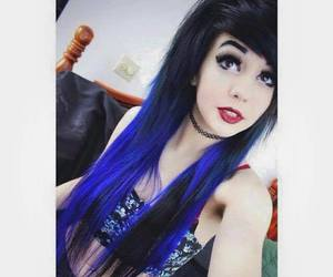 black hair, emo, and dyed hair image