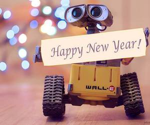 new year, wall-e, and happy new year image