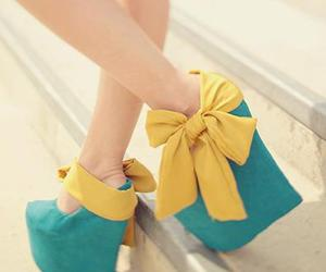shoes, blue, and yellow image