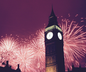 fireworks, london, and new year image