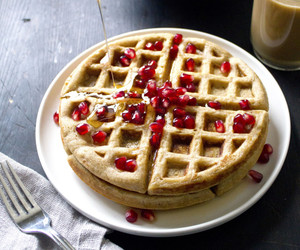 food, sweets, and waffles image