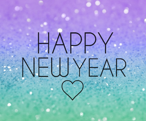 glitter, heart, and happy new year image