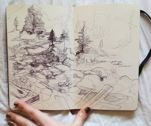 drawing, forest, and art image