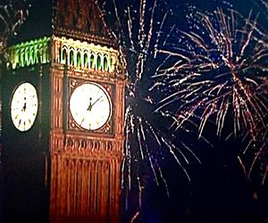 Big Ben, fireworks, and london image