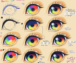 eye, drawing, and rainbow image