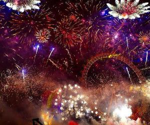 fire works, london, and london eye image