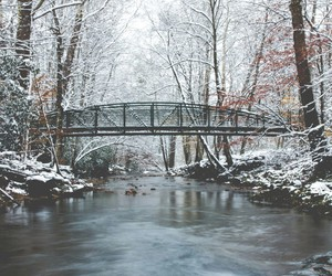 bridge, river, and snow image