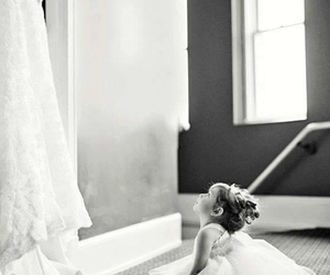 black and white, kid, and dress image